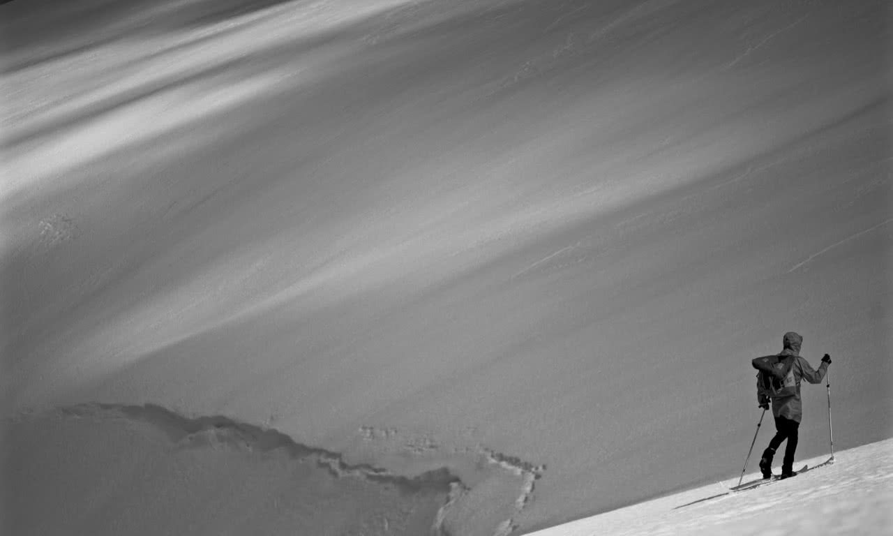 lachie thomas, explorer of the month, backcountry, snow, black and white