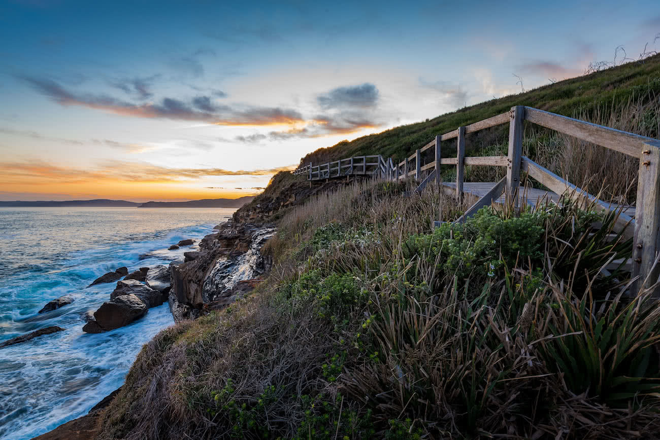 Matt Horspool, Bouddi Coastal Walk, Bouddi National Park, sunset, hiking track, hero, fence,