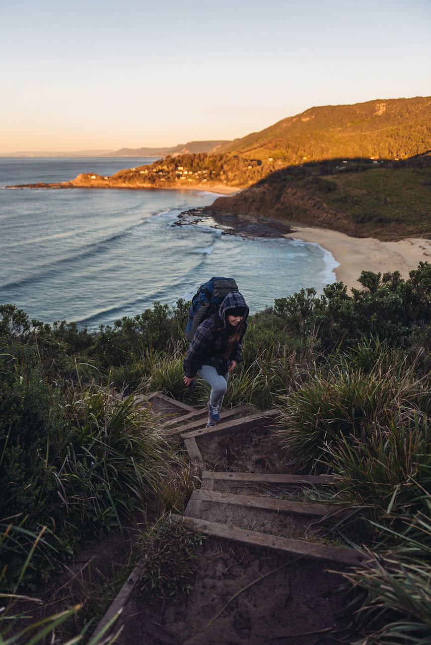 adrian mascenon, the coast track, royal national park, nsw, stairs, sunrise, bundeena to otford