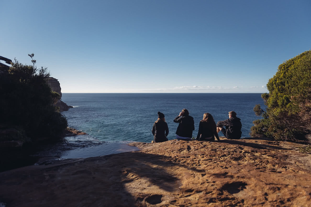 adrian mascenon, the coast track, royal national park, nsw, group, friends, cliff