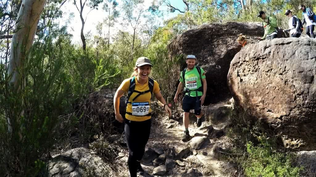 Oxfam Trailwalker 2017 Calumn Hockey Boulder Squeeze, woman, man , hiker, boulder, bush