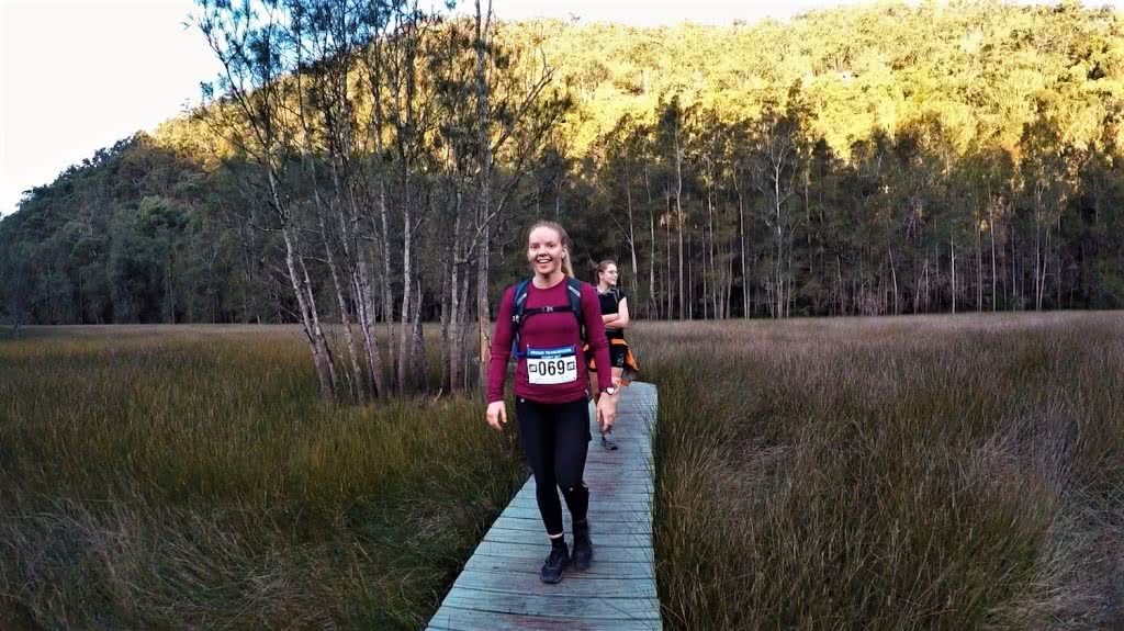 Oxfam Trailwalker 2017 Calumn Hockey Happy Happy Hikers, woman, smile, hiker, boardwalk