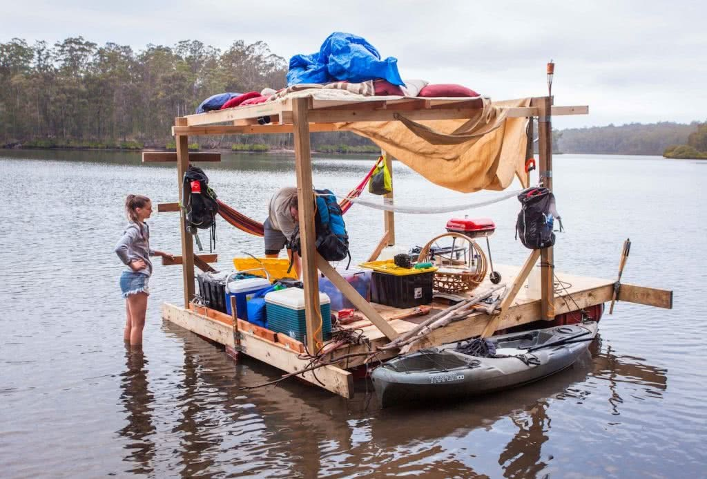 Travels By Tide // A Modern Day Huck Finn Adventure Joel Johnsson, raft, barbecue, floating, woman, kayak
