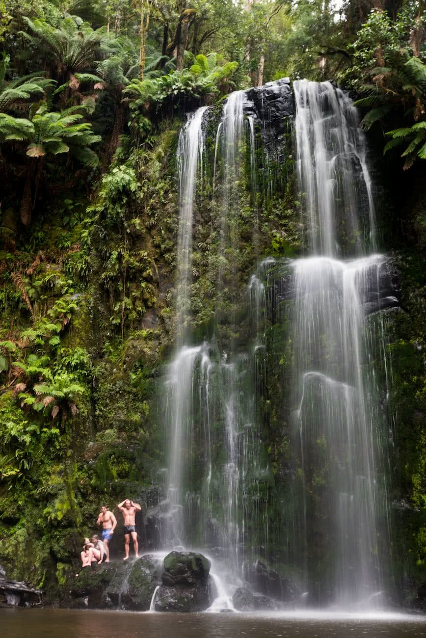 8 Ridiculously Beautiful Victorian Waterfalls To Chase This Summer Pat Corden Beauchamp Falls, waterfall, swimmer, cliffs, ferns