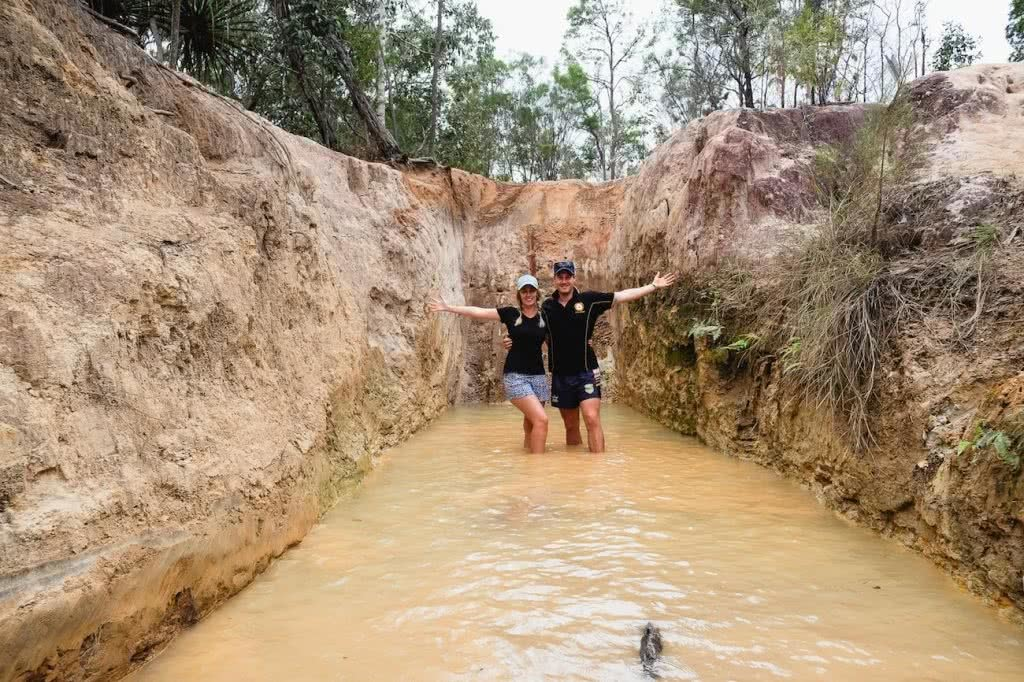 The Old Telegraph Track Cape York Peninsula NT, Grace and Brenton Kelly, couple, mud, water