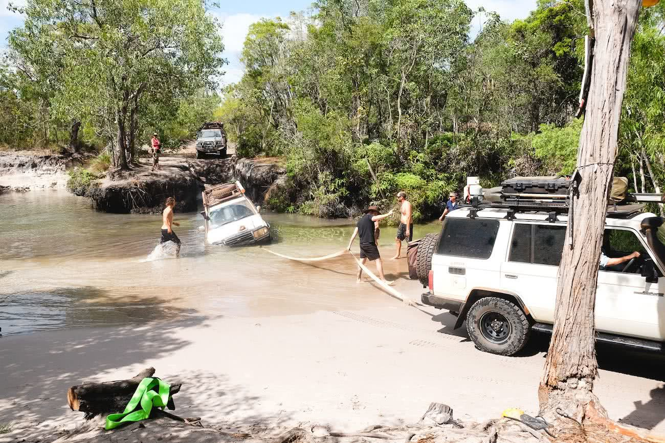 The Old Telegraph Track Cape York Peninsula NT, Grace and Brenton Kelly, river crossing, 4WD,towing, stuck