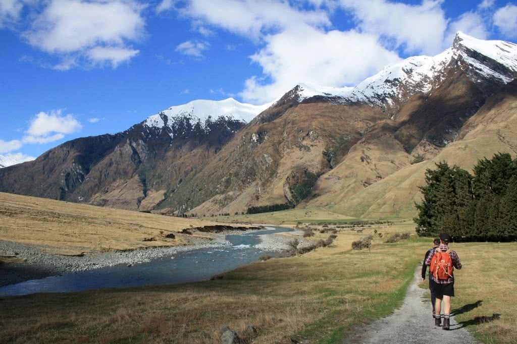 A Mini Glacier Adventure Rob Roy Glacier Track NZ Mount Aspiring National Park Wanaka Suzanne Chellingworth, snow-capped, mountain, river, grass, clouds, blue sky