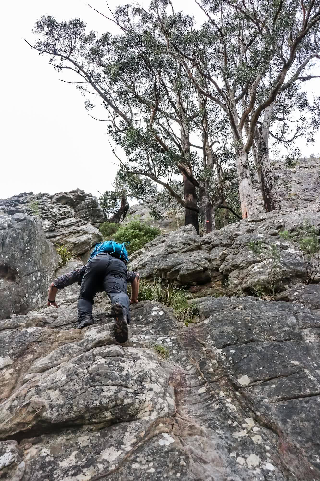 Cathedral Range State Park VIC Chris Paola, climbing, rocks, man, backpack Sugarloaf_climb