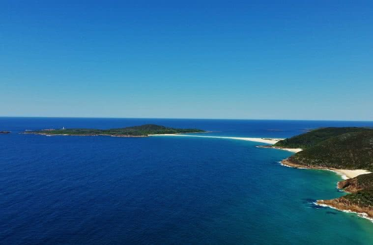 Tomaree Head Summit Walk Port Stephens (NSW), Natalie Hardbattle, causeway, sand, island, headlands, ocean, blue, horizon, hero