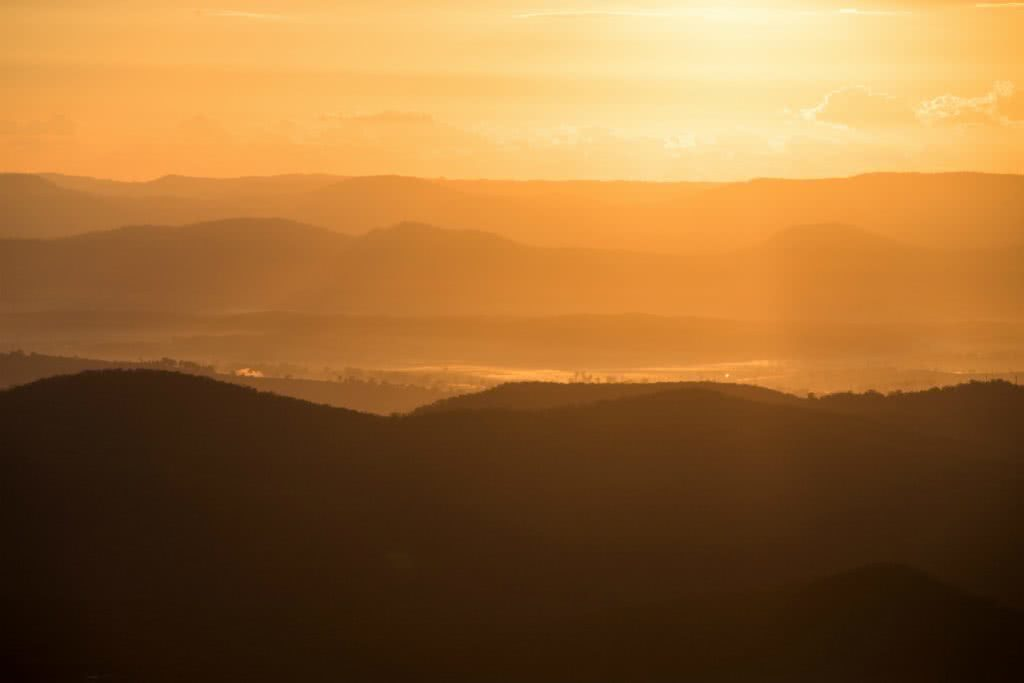 Sunrise from Mt Maroon Why I wake Up At 2am Every Weekend Lisa Owen, silhouette, dawn, mountain, mist, sunrise, orange, clouds
