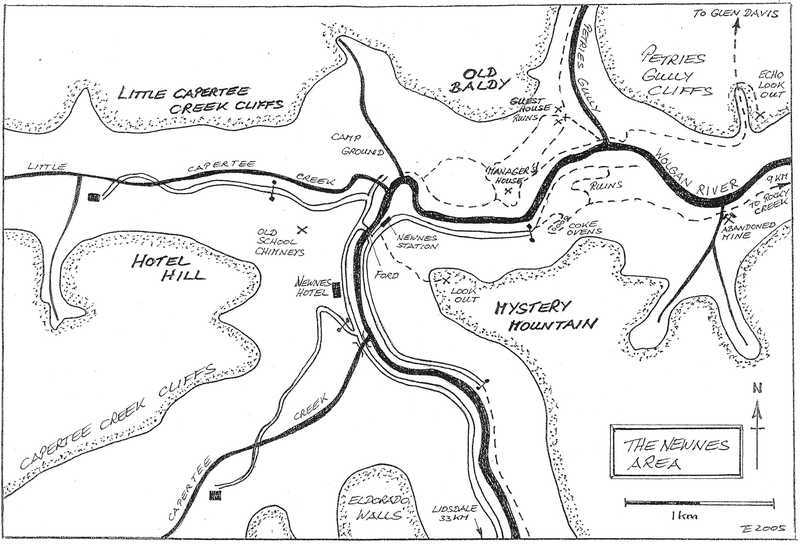 newnes area, wolgan valley, hand drawn map, nsw, blue mountains