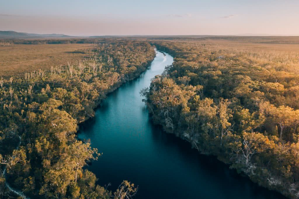 In Search Of A Rainbow // The Cooloola Great Walk (QLD) Jesse Lindemann, river, trees, aerial, bush, water