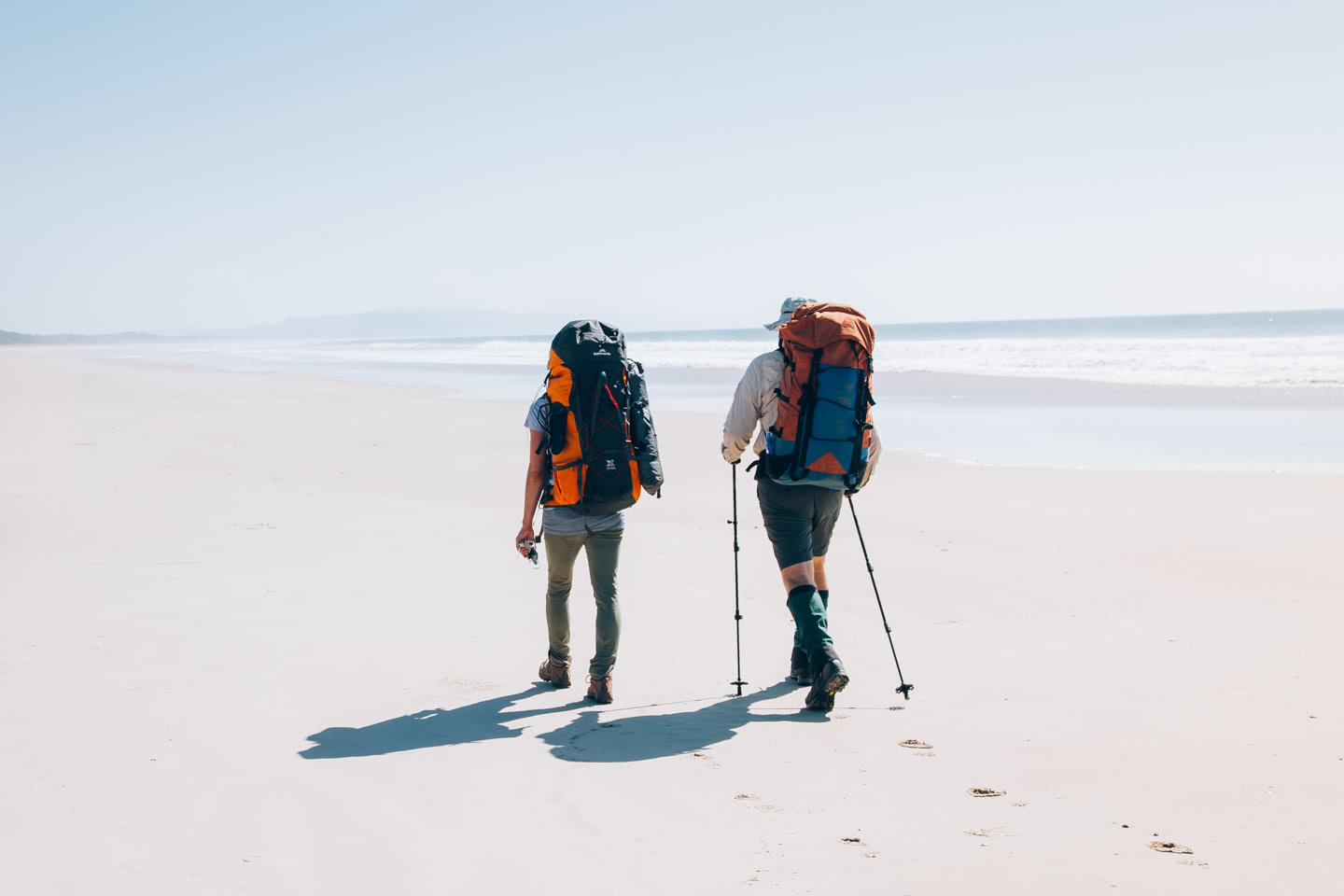 In Search Of A Rainbow // The Cooloola Great Walk (QLD) Jesse Lindemann, hikers, poles, sand beach, ocean, footprints, hero