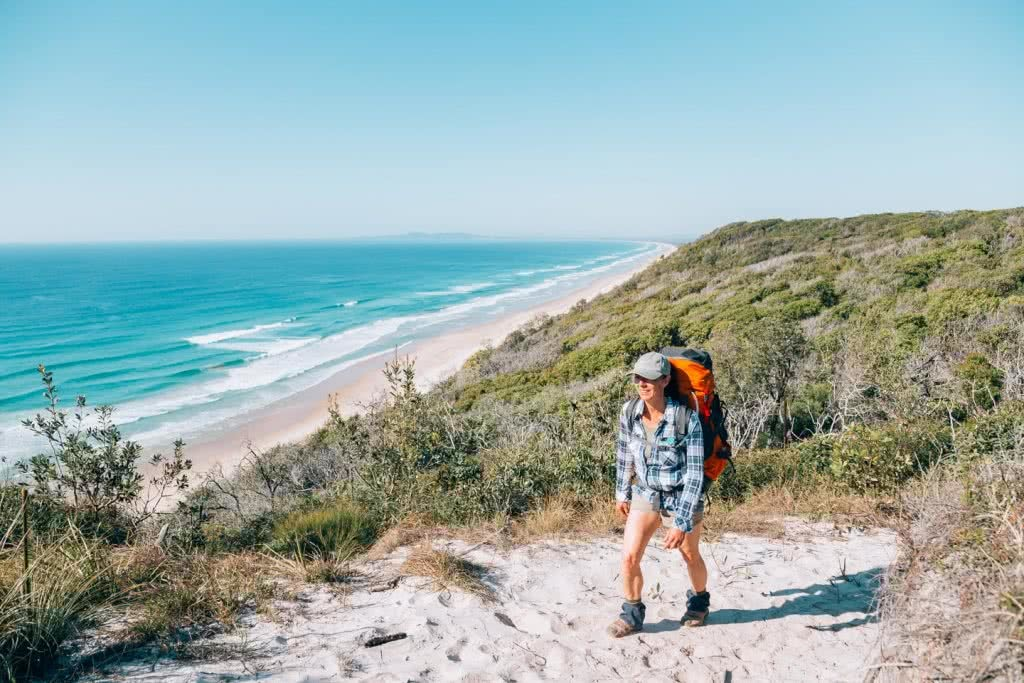 In Search Of A Rainbow // The Cooloola Great Walk (QLD) Jesse Lindemann, hiker, beach, backpack, sand dunes, ocean, waves