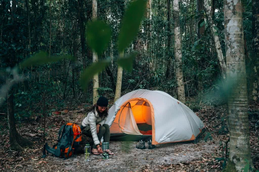 In Search Of A Rainbow // The Cooloola Great Walk (QLD) Jesse Lindemann, tent, camping, woman, light, backpack, trees, forest