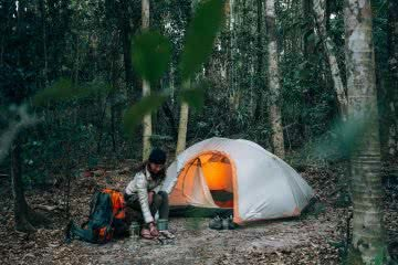 In Search Of A Rainbow // The Cooloola Great Walk (QLD) Jesse Lindemann, tent, camping, woman, light, backpack, trees, forest,, hero