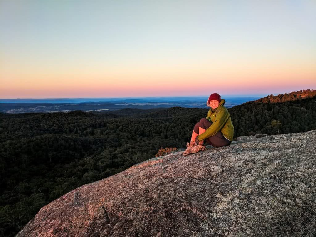 A Maze Of Balancing Boulders // Cathedral Rock National Park (NSW) Luke Mallinson, sitting, horizon, view, hiker, rocks, sunrise