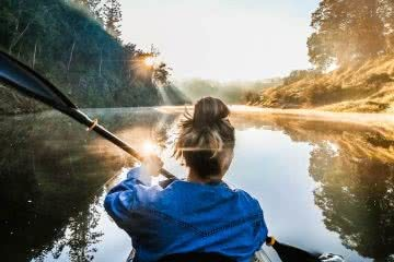 7 Killer Kayak Adventures On The Sunshine Coast (QLD), Scout Hinchliffe, water, paddle, woman, glassy, mirror, reflection, hero, blue sky, MARY RIVER header