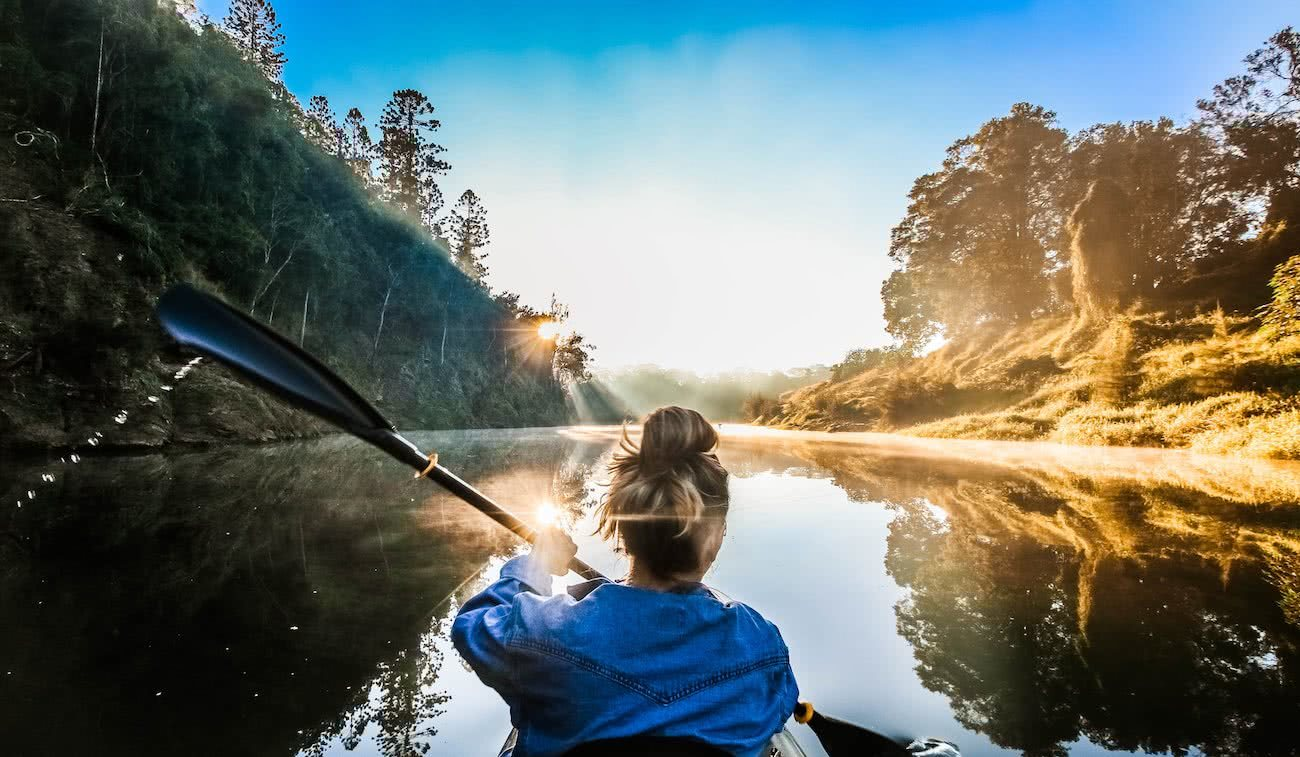 7 Killer Kayak Adventures On The Sunshine Coast (QLD), Scout Hinchliffe, water, paddle, woman, glassy, mirror, reflection, hero, blue sky, MARY RIVER