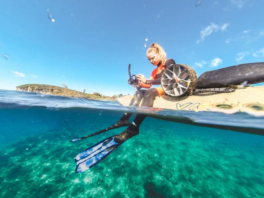 7 Killer Kayak Adventures On The Sunshine Coast (QLD), Scout Hinchliffe, snorkel, flippers, wheel, beach, underwater, OLD WOMAN ISLAND