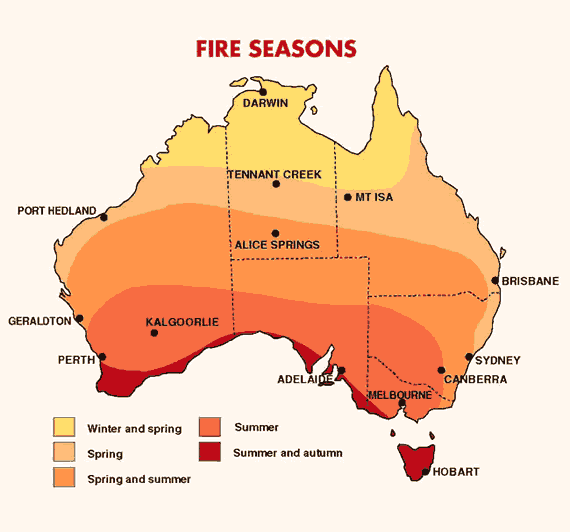 australia, fire season map, bureau of meteorology