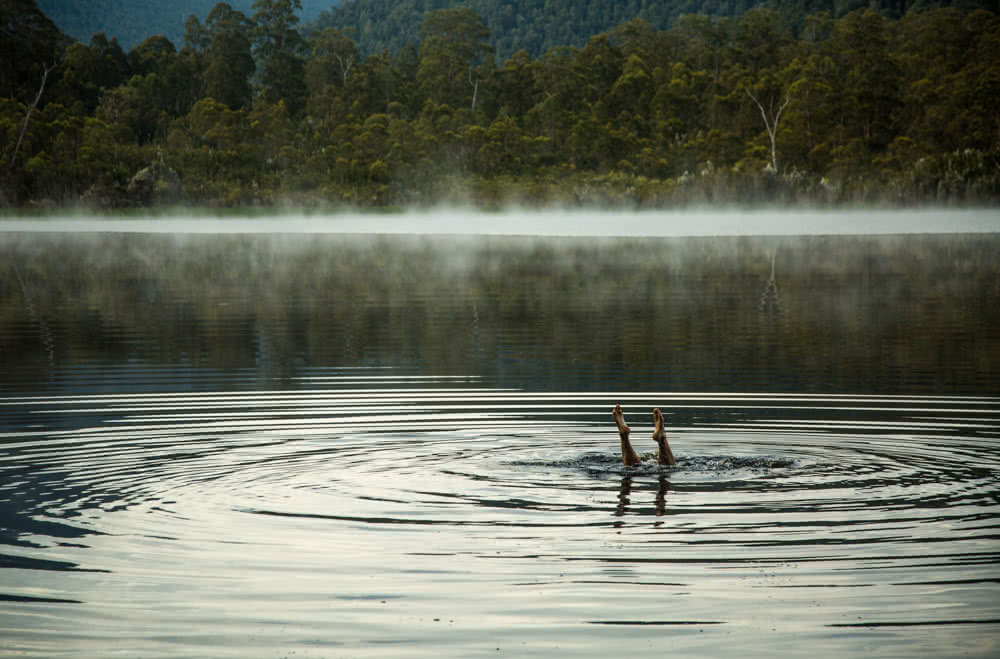 12 Things To Do On Tassie's West Coast, photo by Nick Green, Lake Burbury, dive, feet, ripples, forest