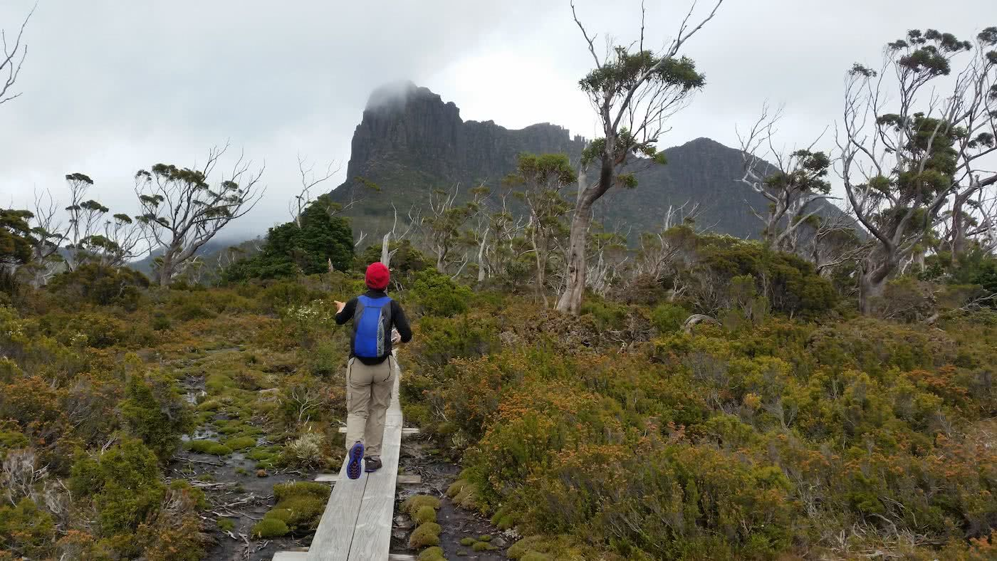 The Best Side Trip On The Overland Track? // Pine Valley Hut (TAS), Brooke Nolan, Acropolis3, raised track, red beanie, blue backpack, trees, mountains