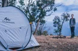 Quechua 2 Second Pop Up Tent // Gear Review Riley Kruck, tent, tree, dirt