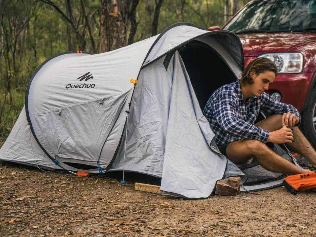 Quechua 2 Second Pop Up Tent // Gear Review Riley Kruck, tent, guy, shoes, car