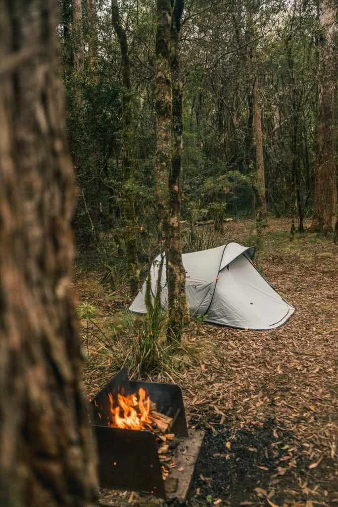 Quechua 2 Second Pop Up Tent // Gear Review Riley Kruck, tent, barbecue, woods, trees, fire, flames