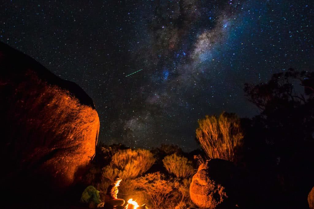 Jacquie Tapsall // Explorer Of The Month - February '18, Girraween NP, campfire, rocks, boulders, night sky, stars, astrophotography