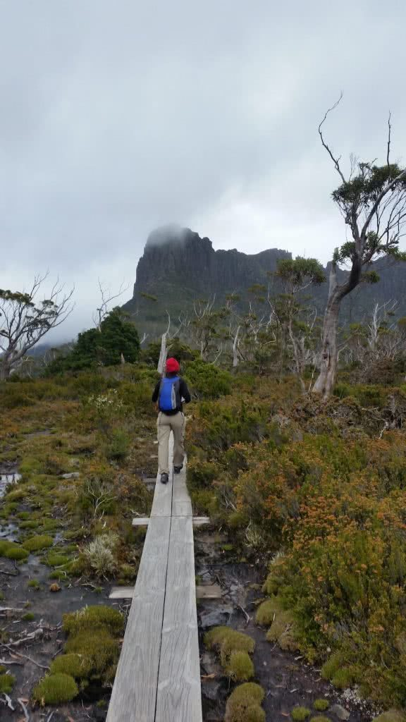 The Best Side Trip On The Overland Track? // Pine Valley Hut (TAS), Brooke Nolan, The Acropolis 2, red beanie, blue backpack, raised track, bush, mountain, mist, hiker
