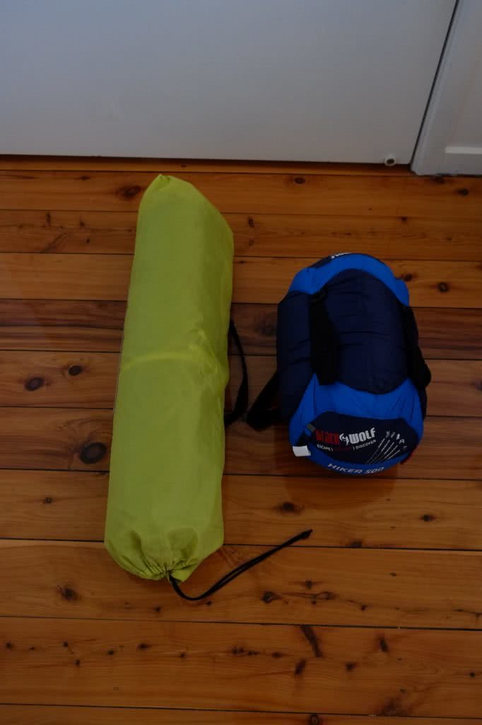 Blackwolf Hiker 500 Sleeping Bag // Gear Review, Caleb Hindley, size compare, sleeping mat, rolled
