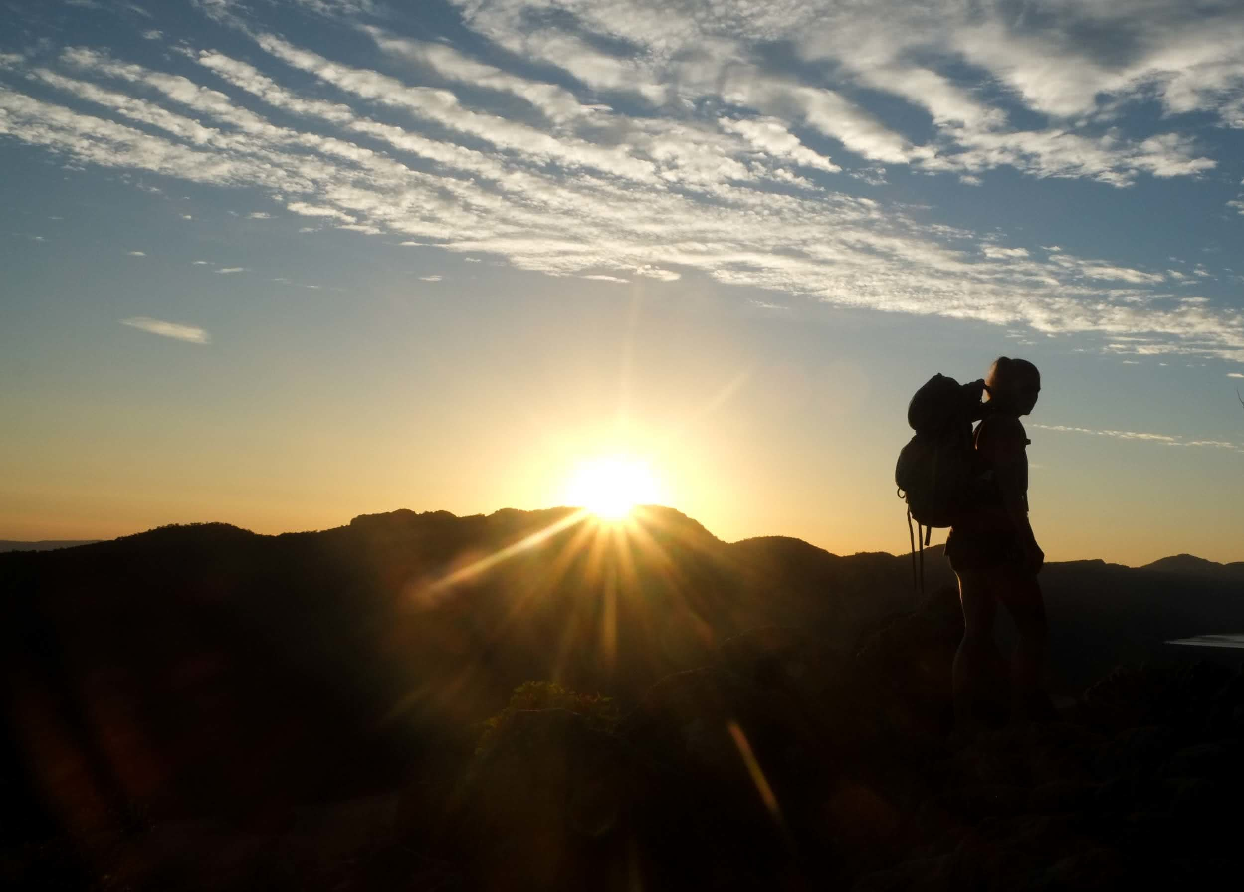ruby bisson, get fitted for a hiking backpack, photo by Rhianna, mr timbuktu, sunset, silhouette