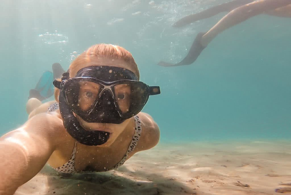 River Snorkelling // Brunswick Heads (NSW), Scout Hinchliffe, snorkelled, swimsuit, underwater, fins, bubbles, portrait, face, closeup