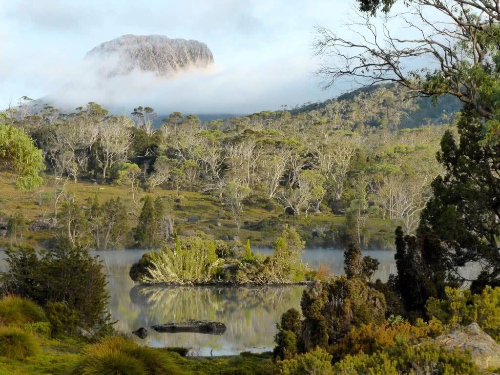 Highlights Of The Overland Track (VIC) Lake Windermere - Sarah Barlow, Photo Jo Barlow, lake, island, trees, mist, mountain peak, appearing, shrouded
