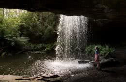 Wet Feet And Waterfalls // Cumberland River Trail (VIC), Isobel Campbell, Lower Kalimna Falls 2, behind a waterfall, cave, woman