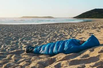 Blackwolf Hiker 500 Sleeping Bag // Gear Review, Caleb Hindley, nap time, sand, ocean, beach, cosy
