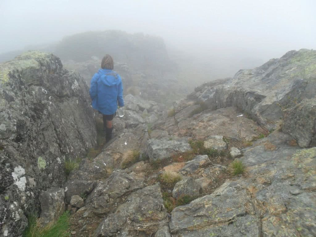 Welcome to Mt Jagungal (We Got Mist and Rain) // Kosciuszko NP (NSW), Sam Christie, rocks, hiker, mist, fog, low vis