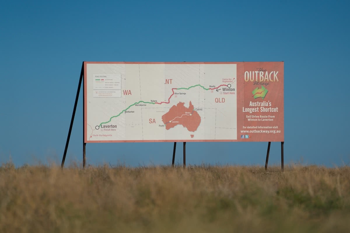 outback way, road trip, red centre, story winton to boulia, sign