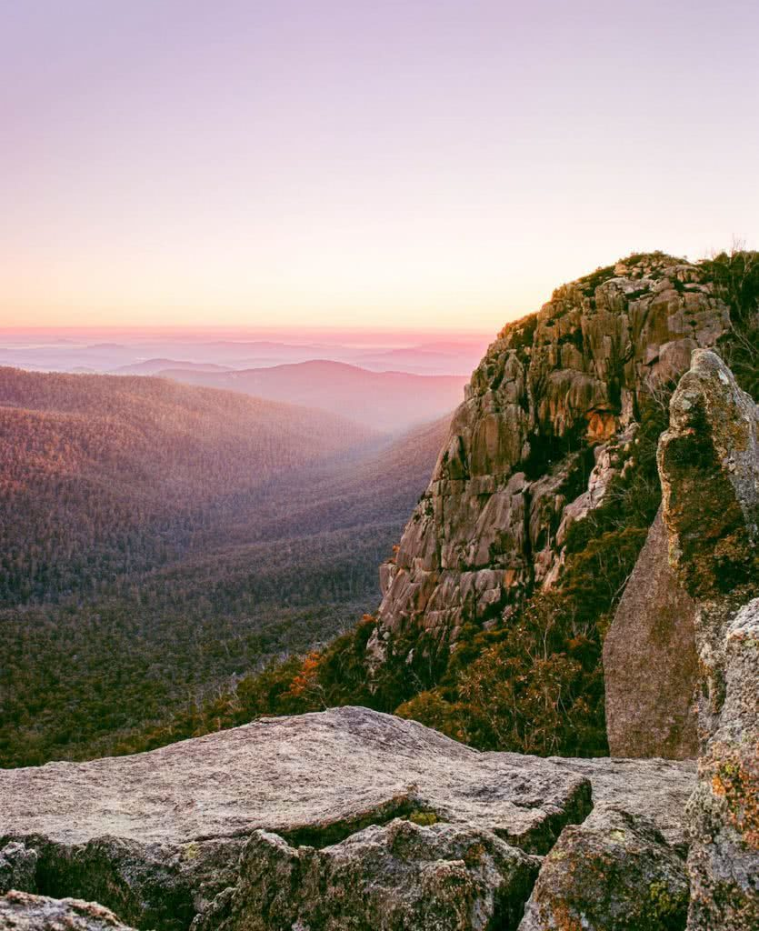 A Blast Up Booroomba Rocks // Namadgi NP (ACT), Dan McInnes, pink, sunrise, valley, trees, forest