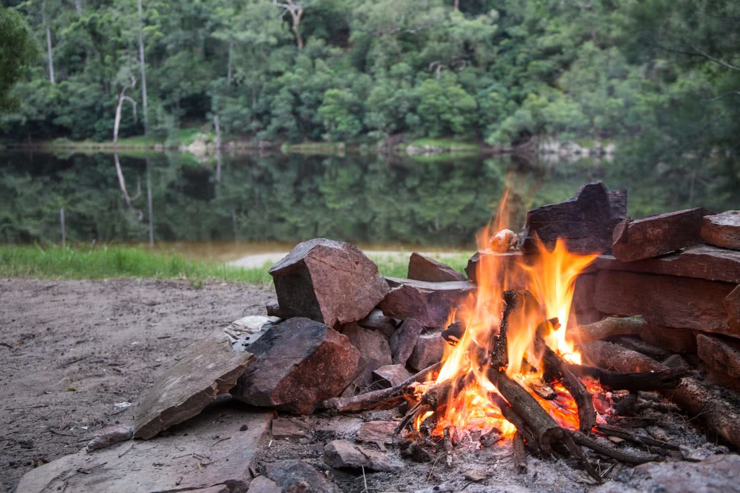 Rachel Dimond // Explorer Of The Month - March '18, Campfire - Kangaroo Valley, flames, river, glassy water, no wind, mirror, lake, reflection