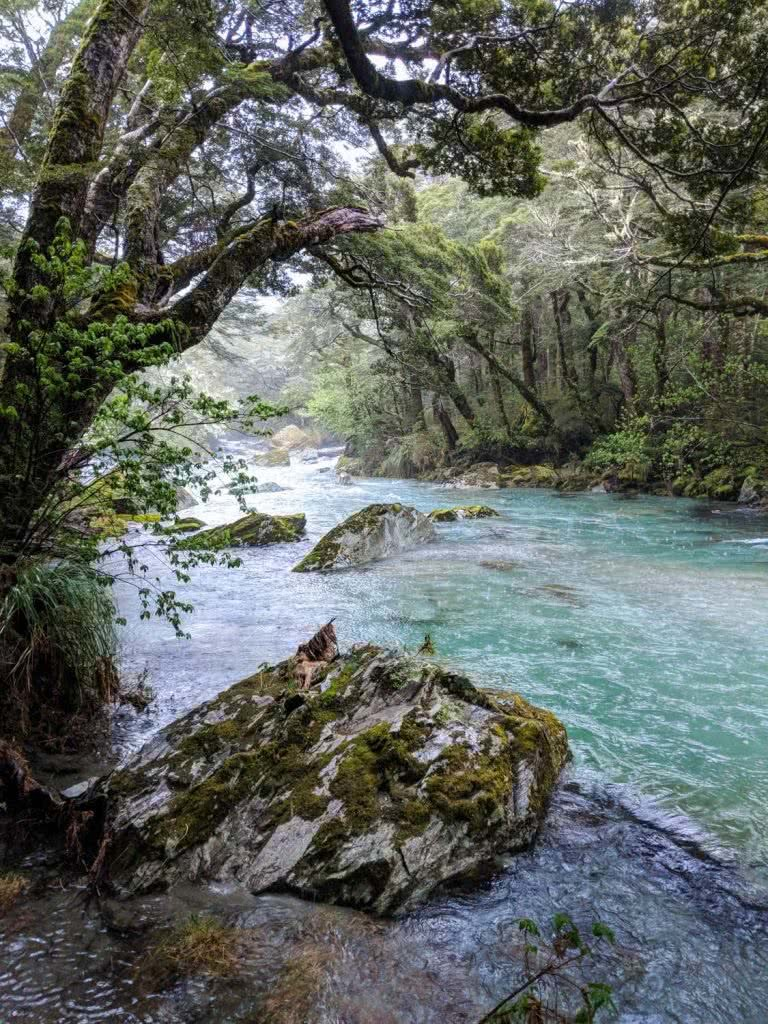 Soggy, Snowbound And Stoked // Routeburn Track (NZ), Rachel Dimond, Day 1 - Routeburn River, river, rocks, trees, boulders