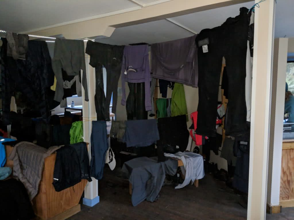 Soggy, Snowbound And Stoked // Routeburn Track (NZ), Rachel Dimond, Day 2 - Lake Mackenzie Hut, clothes drying, washing