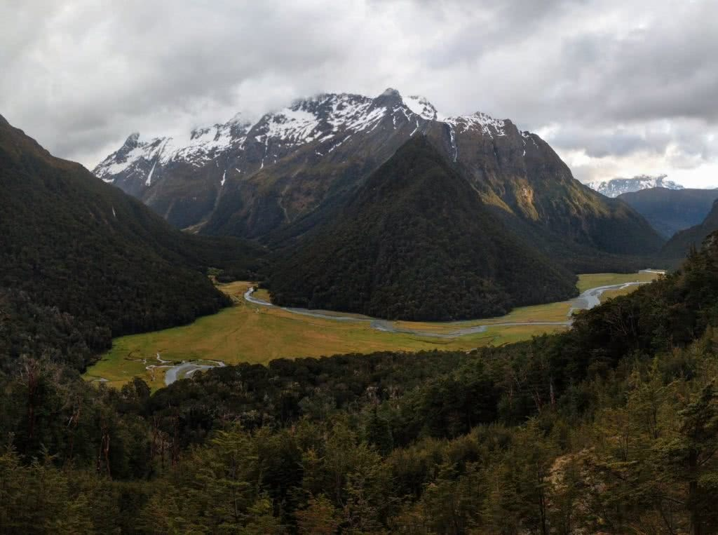 Soggy, Snowbound And Stoked // Routeburn Track (NZ), Rachel Dimond, Day 2 - The only ray of sunshine, snowcapped mountains, valley, forest