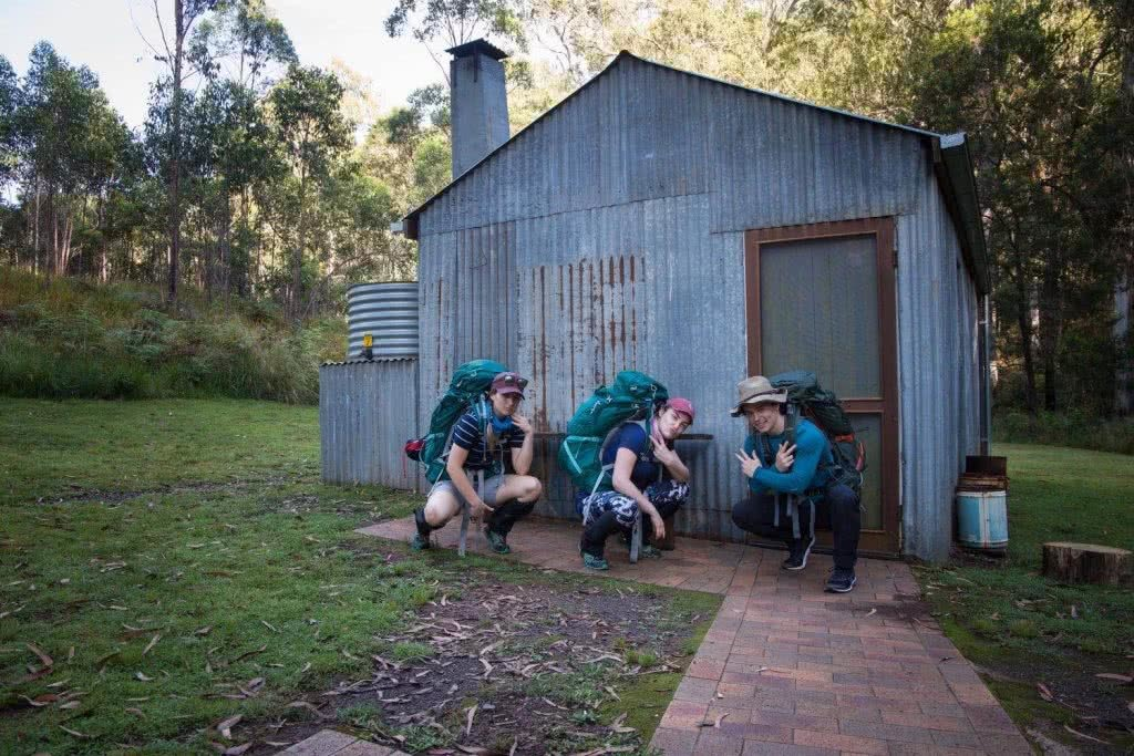 10 Hiking Lessons Learnt On The Green Gully Track (NSW), Rachel Dimond, hikers, friends, gaiters, hut, backpacks