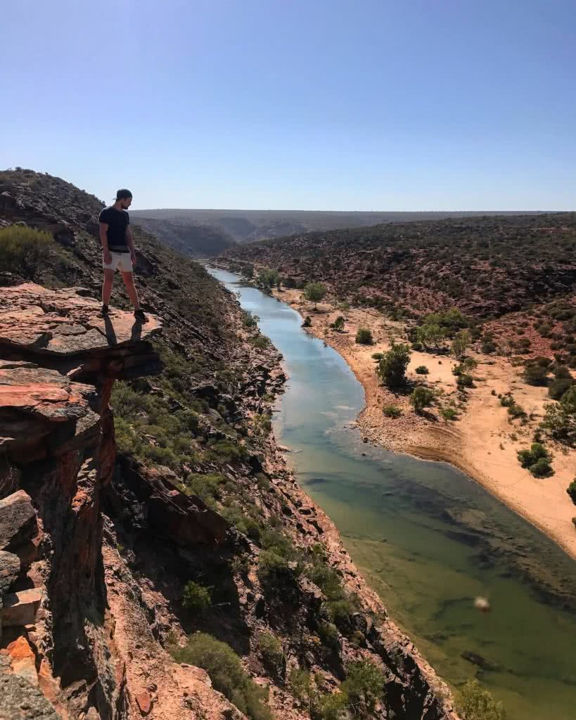 Sunrise At Nature's Window // Kalbarri National Park (WA), Tiffany Hulm, river, person ,lookout, view
