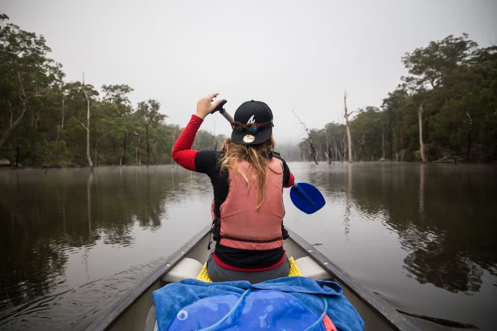 Rachel Dimond // Explorer Of The Month - March '18, Rachel Kangaroo Valley, paddle, canoe, soma, tarp, lake, river, life jacket, buoyancy aid