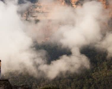 Rachel Dimond // Explorer Of The Month - March '18, Rachel Walls Lookout - Blue Mountains, clouds, hiker, trees, mountains, escarpment, lookout, view