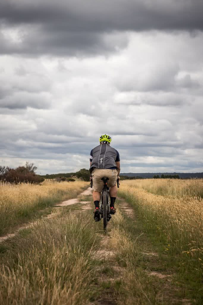 French Island // Melbourne's Wilder Island Adventure, Chris Paola, biker, bike, trail, track, clouds, horizon, back, behind, saddle, seat